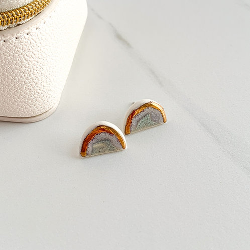 Blue-Grey Arch Studs with Gold