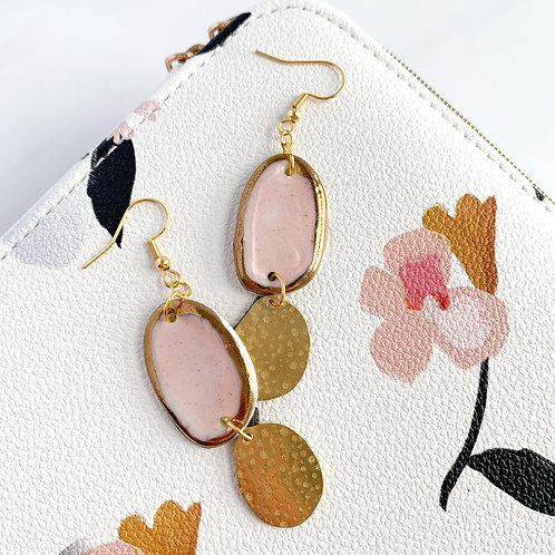 Pale Pink and Gold Abstract Oval Dangles with Gold Ovals