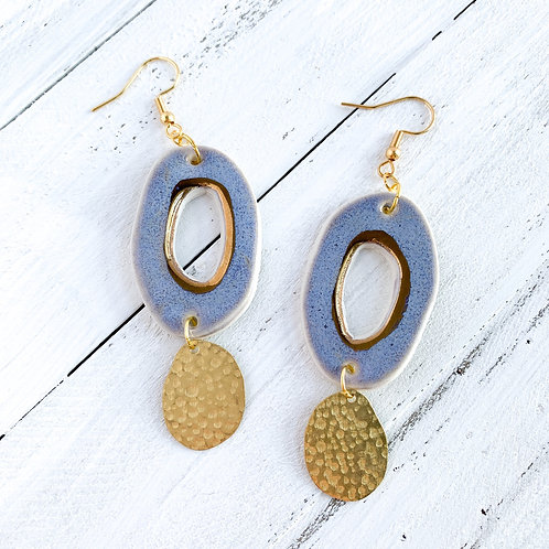 Lavender and Gold Abstract Circle Dangle Earrings