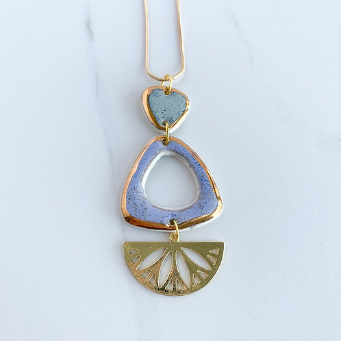 Sage Green and Lavender Triangle Necklace in Gold
