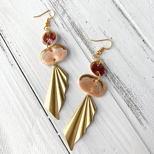 Wine and Blush Oval Dangle Earrings with Gold