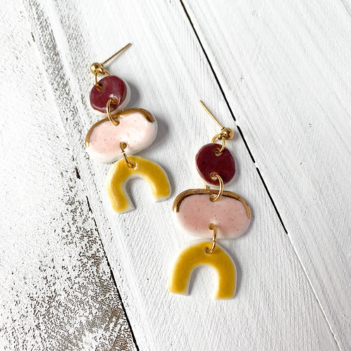 Wine, Pale Pink and Curry Yellow Delicate Dangle Earrings