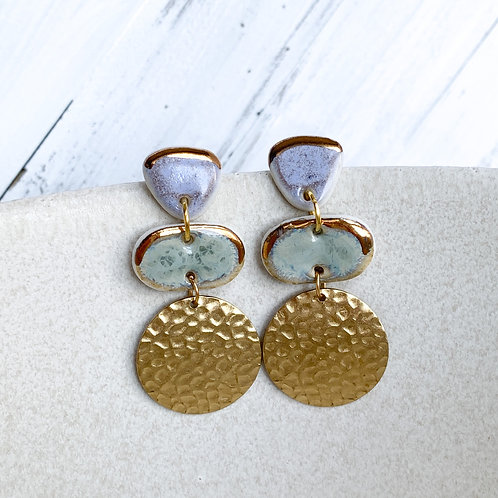 Lavender and Sage Dangle Earrings in Gold