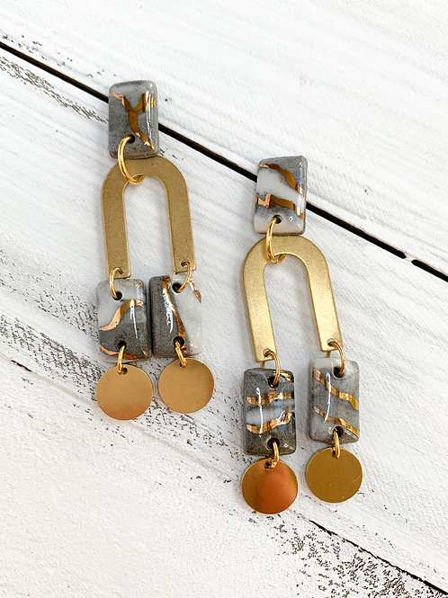 Marbled Rectangle Earrings with Tiny Gold Circles