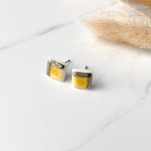 Curry Yellow Square Studs with Silver