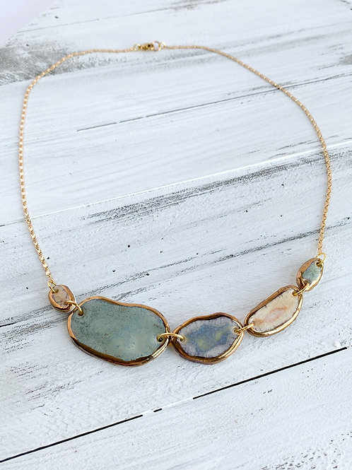 Sage Green, Grey-Blue and Blush Pink Pebble Necklace in Gold