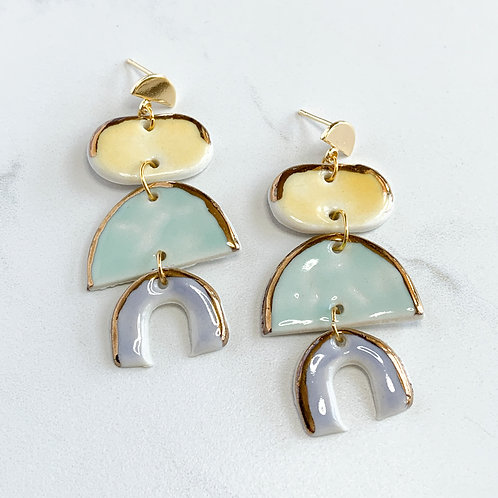 Yellow, Mint and Lavender Arch Dangle Earrings in Gold