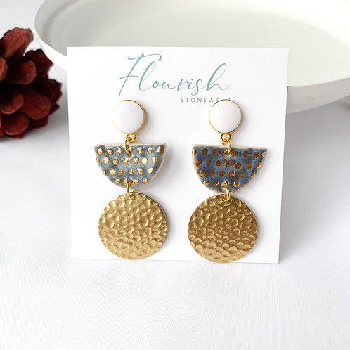 Periwinkle Blue Earrings with Gold and White