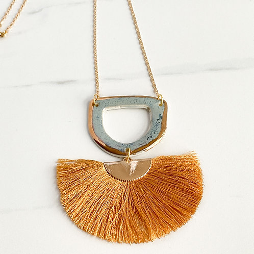 Sky Blue and Gold Necklace with Camel Tassel