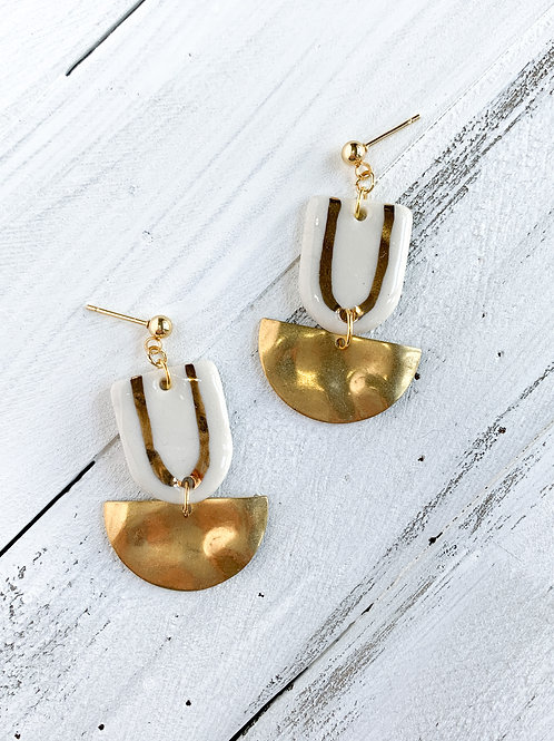 White and Gold Arch with Gold Halfmoon Dangle Earrings