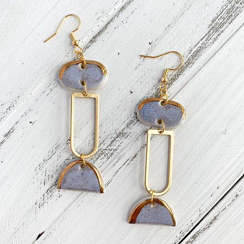 Lavender Oval and Arch Dangle Earrings in Gold