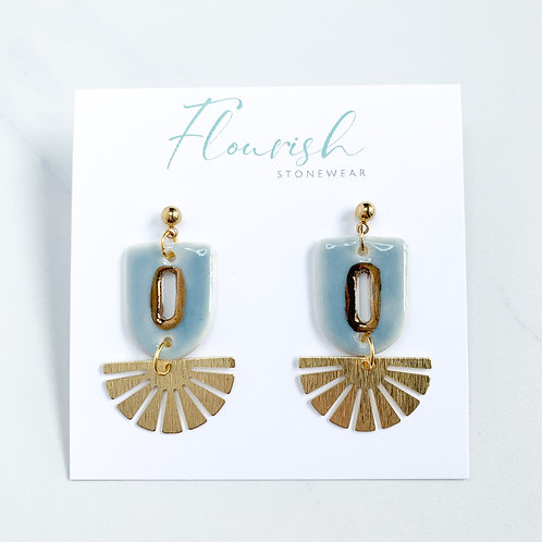 Aqua and Gold Cut-Out Dangle Earrings with Gold Fans