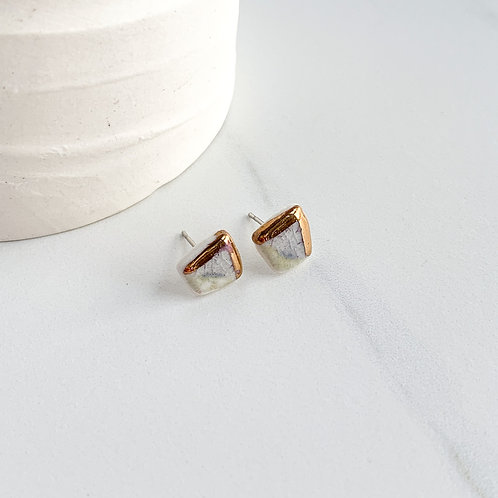 Tiny Abstract Square Studs in Grey and Gold