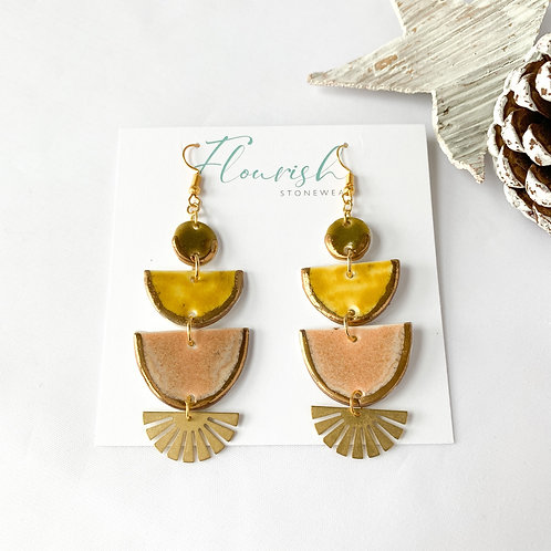Olive Green, Curry and Blush Half-moon Earrings with Gold
