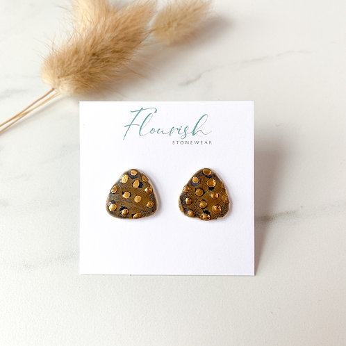 Sandy Blue Studs with Gold Polka Dots