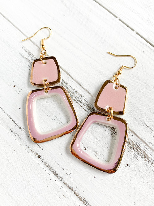 Pink and Lilac Abstract Square Earrings