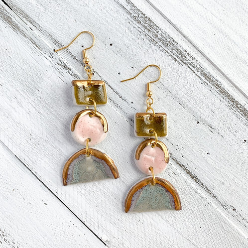 Olive, Pale Pink and Blue-Grey Dangle Earrings in Gold