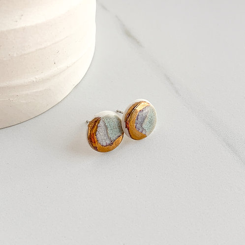 Blue-Grey and Gold Circle Studs