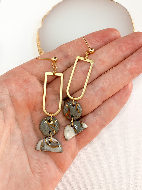 Marbled Tiny Circles and Halfmoons with Brass Dangle Earring