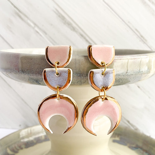 Pale Pink and Lavender Half-Moons and Moon Dangle Earrings in Gold