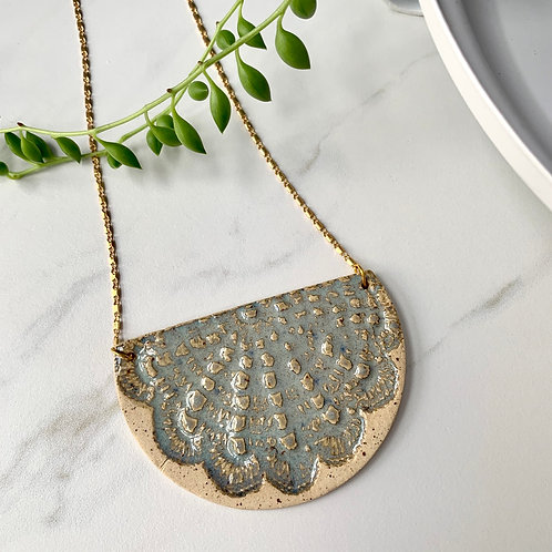 Large textured half moon necklace in gold