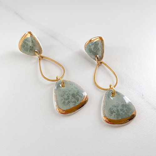 Sage Rounded Triangle Earrings with Gold Drops