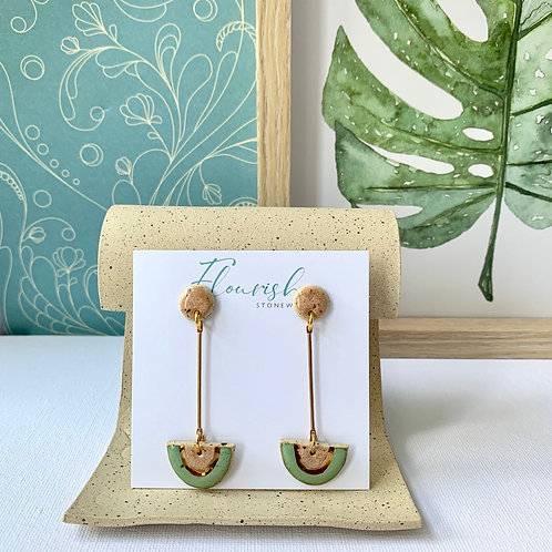 Mint and peach arch dangles in gold