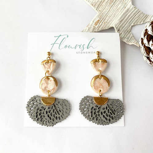 Blush Pink and Gold Dangle Earrings with Grey Tassel