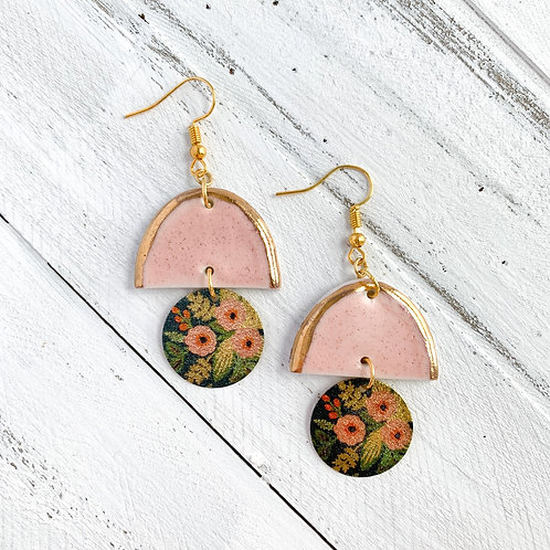 Pale Pink Halfmoon with Floral Circle and Gold