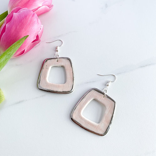 Pale Pink and Platinum Abstract Square Earrings