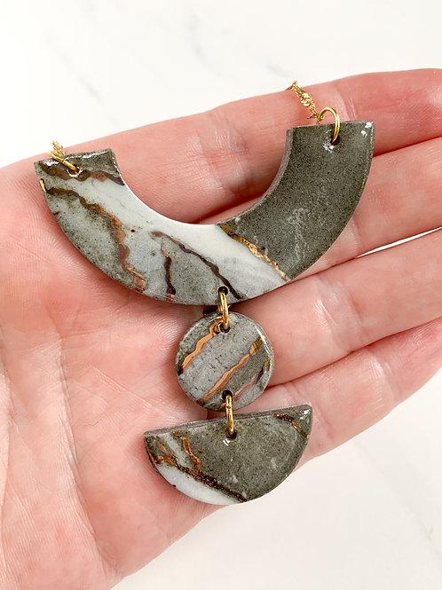 Marbled 3 Piece Statement Necklace