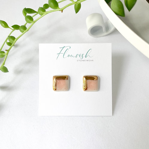 Pink and Gold Square Studs