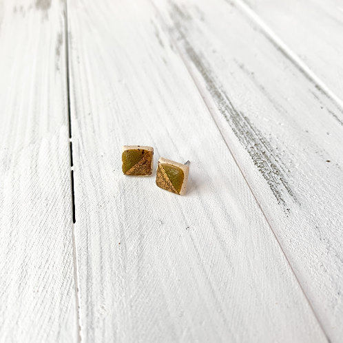 Rustic olive green with gold studs