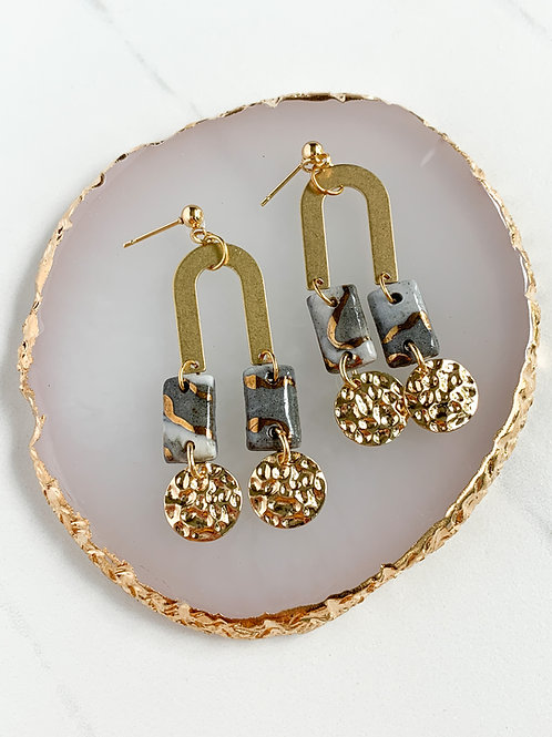 Marbled Rectangle Earrings with Hammered Circles and Arches