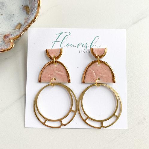 Blush Pink Halfmoons with Gold Circle