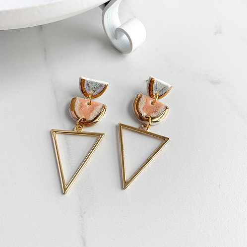 Blue-Grey and Blush Pink with Gold Triangle Dangle Earrings
