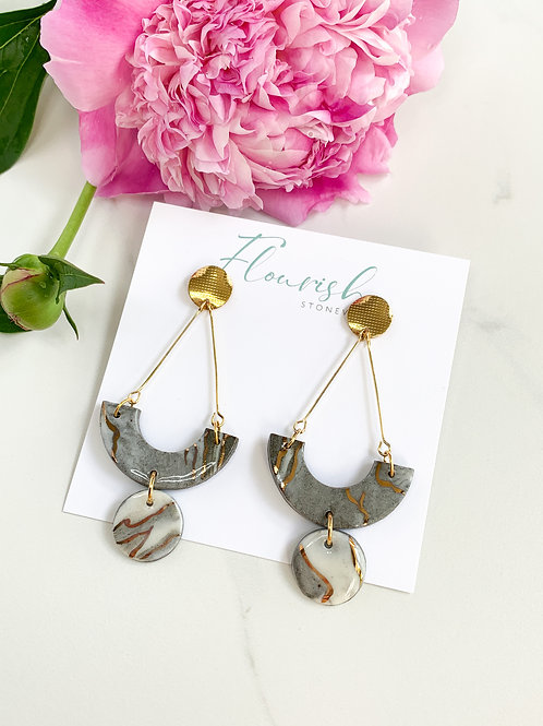 Marbled Arches and Circle Dangle Earrings with Gold