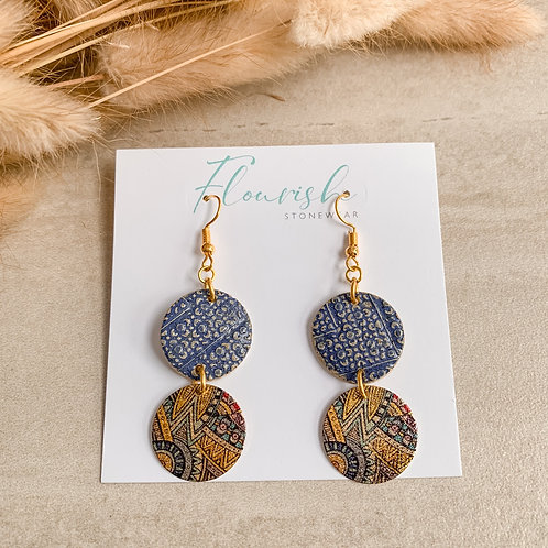 Textured denim blue circles with multi-coloured circle attachments