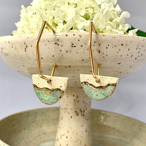 Halfmoons with Ocean Green on Gold Hexagon Hoops