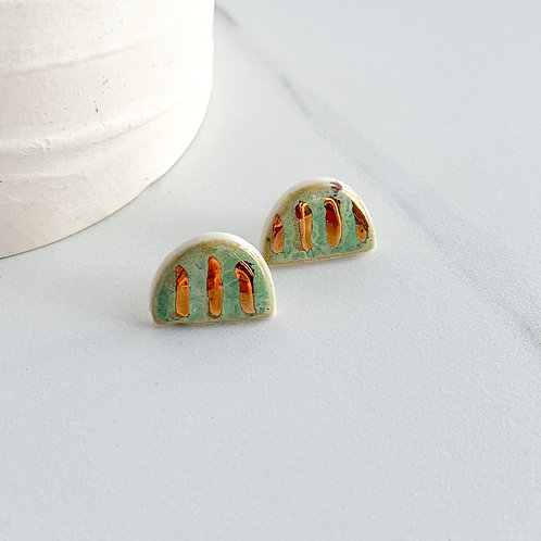 Mint Green Arch Studs with Gold Lines