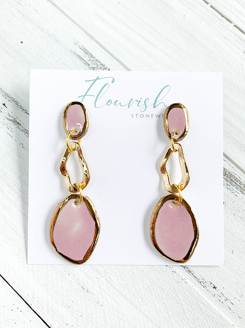 Pink and Gold Oval Dangle Earrings