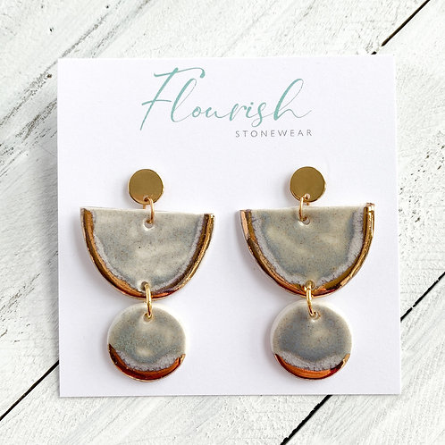 Grey-Blue Halfmoons and Circle Earrings in Gold