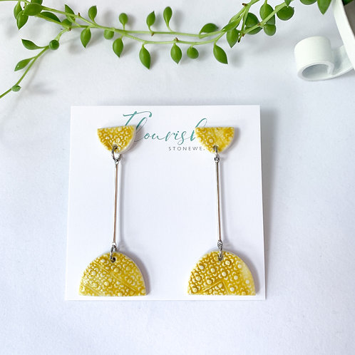 Curry Yellow Half Moon Dangles in Silver
