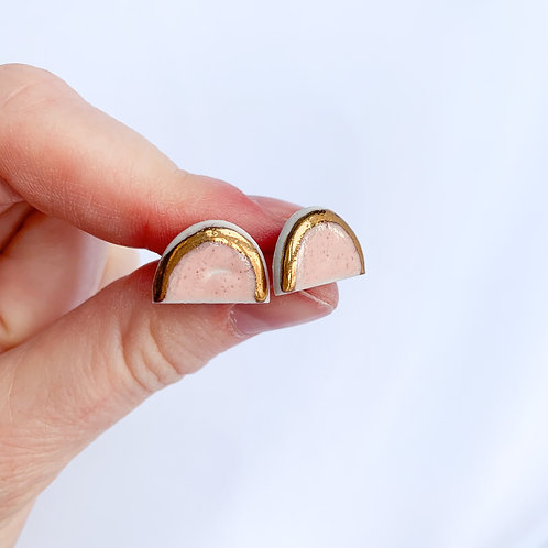 Pale Pink and Gold Arch Studs