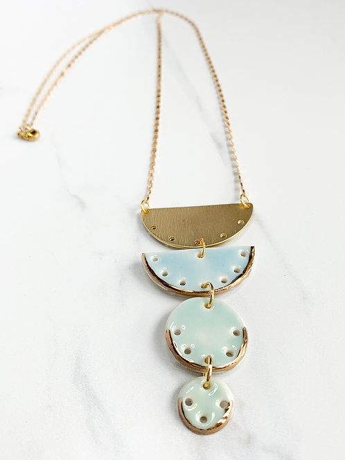 Pale Blue and Aqua Halfmoon and Circles Gold Necklace