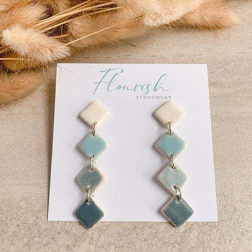 Ombre blues diamond-shaped dangles
