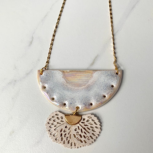Pale blue and pinks half moon statement necklace with leather
