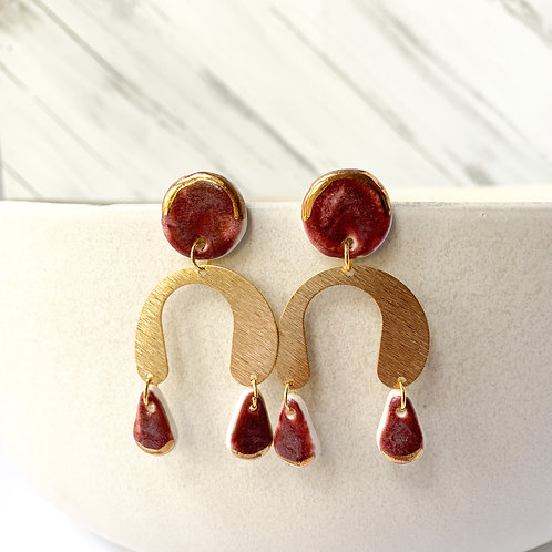 Wine and Gold Statement Earrings