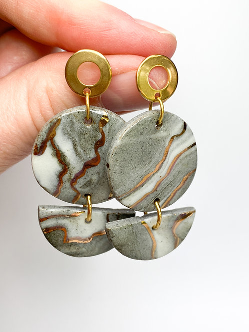 Marbled Circles and Halfmoon Dangles with Gold Posts