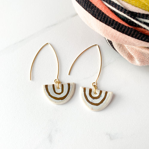 White and Gold Arch Earrings